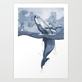 Hump Back Whale breaching in Stormy Seas with tiny boat - nautical themed illustration Art Print