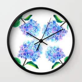 blue purple hydrangea Wall Clock