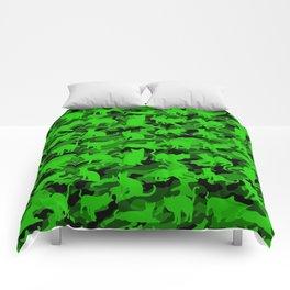 Bright Neon Green Catmouflage Comforters