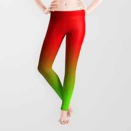 Neon Red and Neon Green Ombré  Shade Color Fade Leggings