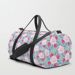 Watercolor Pink Roses, Burgandy Roses, hand-drawn vines on Seafoam green Duffle Bag