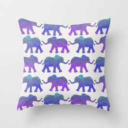 Follow The Leader - Painted Elephants in Royal Blue, Purple, & Mint Throw Pillow