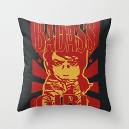 Badass Girl, red Throw Pillow