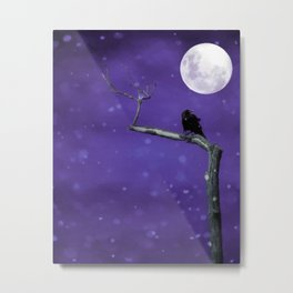 Moonlit Winter Sky Metal Print