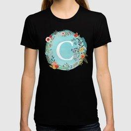 Personalized Monogram Initial Letter C Blue Watercolor Flower Wreath Artwork T-shirt