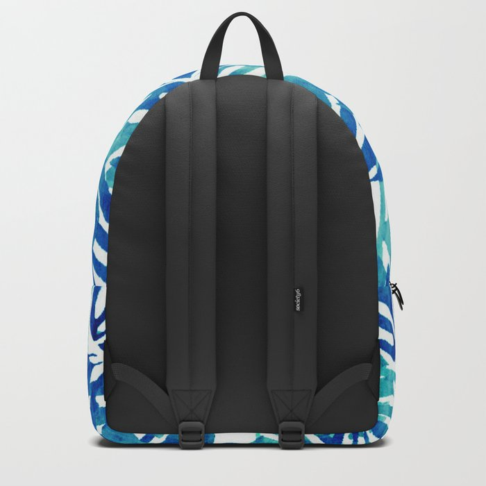 Tropical Leaves – Blue Abstract Backpack
