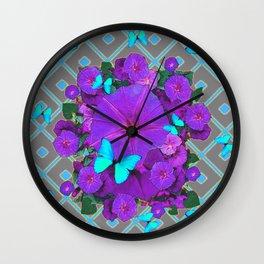 Shimmering Blue Butterflies  Purple Floral Art Wall Clock