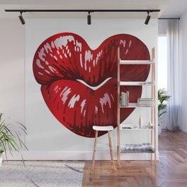 Heart Shaped Lips Wall Mural