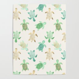 Gilded Jade & Mint Turtles Poster