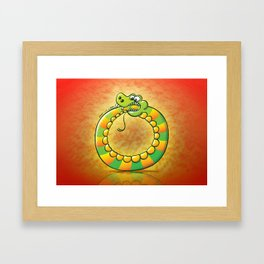 Crazy snake Biting its own Tail Framed Art Print