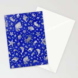 Sea life pattern Silver on Lapiz Lazuli Stationery Cards