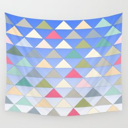 Colorful Pyramids Floating In the Blue Sky Pattern Wall Tapestry