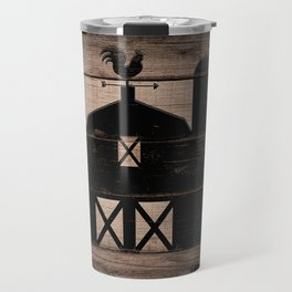 Black Rustic Barn & Rooster Travel Mug