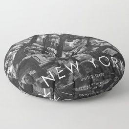 New york City Map United States White and Black photography Floor Pillow