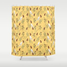 Shy little Jay in yellow Shower Curtain