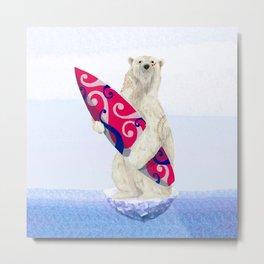 Polar bear & Surf (tribal pink) Metal Print