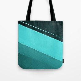 Blue and Black Stripes: Dotted Line Tote Bag