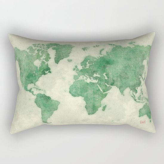 World Map Green Rectangular Pillow