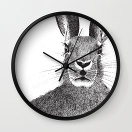 'The March Hare' stippling drawing Wall Clock