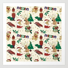 Christmas deer,bear,cat and Nutcracker SB14 Art Print