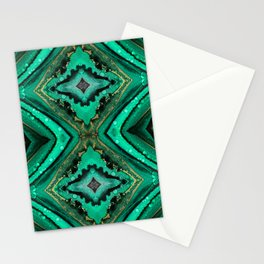 Malachite-inspired alcohol ink art with hints of emerald green, gold and black Stationery Cards