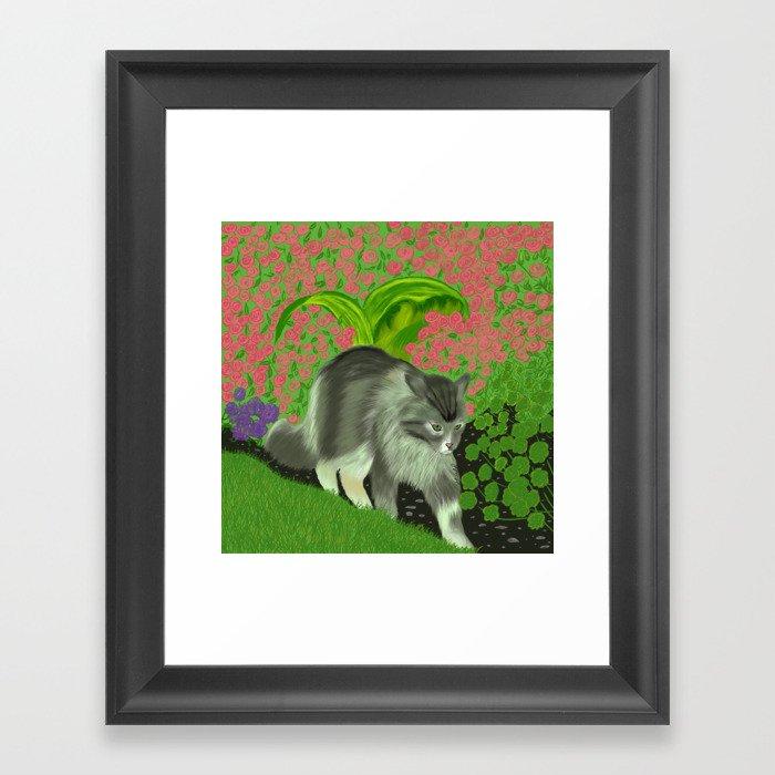 Cat In The Garden Framed Art Print