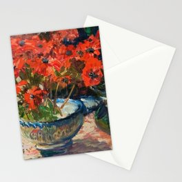 Still Life with Red Flowers floral portrait painting Helene Cramer Stationery Cards