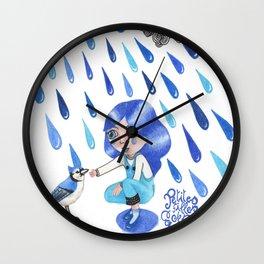 Petites filles des couleurs Bleu Wall Clock