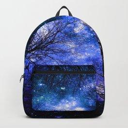 Black Trees Indigo Blue Teal Green Space Backpack