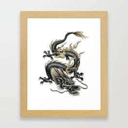 Lucky Chinese Dragon In Gray and Gold Framed Art Print
