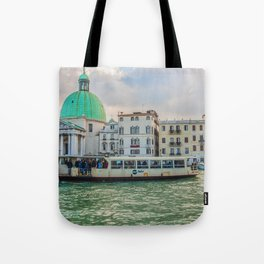 A Traffic On The Canal In Venice Tote Bag