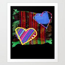 Patchwork Hearts Motif leggings Art Print