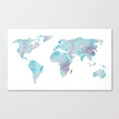 World Map Ocean Blue Canvas Print