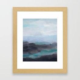 Mint Navy Blue Green Abstract Wall Art, Painting Art, Ocean Painting Print, Blue Water Framed Art Print