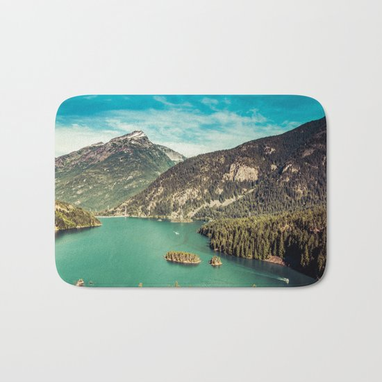 Lake Diablo - Blue and Green Water and Trees Bath Mat