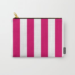 Bright Pink Peacock and White Wide Vertical Cabana Tent Stripe Carry-All Pouch