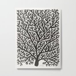 Black Fan Coral Metal Print