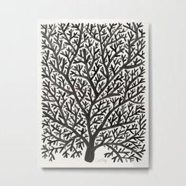 Black Fan Coral Metal Print