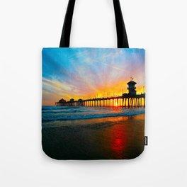 Sunset Huntington Beach Pier   Tote Bag