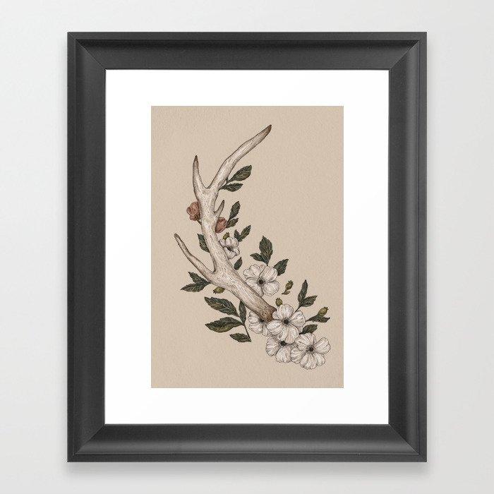 Floral Antler Gerahmter Kunstdruck