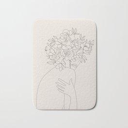 Woman with Flowers Minimal Line III Bath Mat