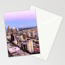 Seattle Skyline Harbor at Sunset Stationery Cards