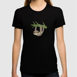 funny and cute smiling Three-toed sloth on green branch tree creeper T-shirt
