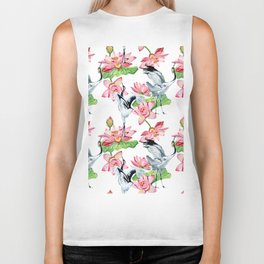 Pattern with cranes and lotuses Biker Tank