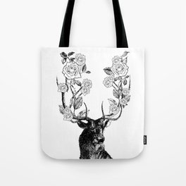 The Stag and Roses | Black and White Tote Bag