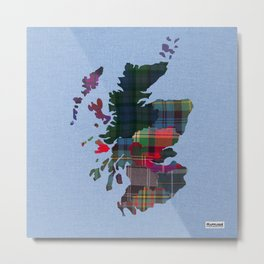 Scotland Counties Fabric Map Art Metal Print