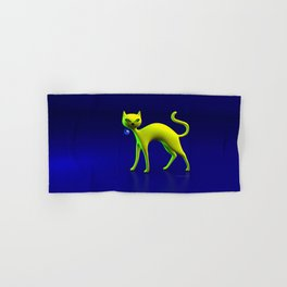 The Yellow Cat And Glass Blue Cherry Hand & Bath Towel
