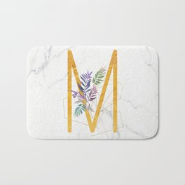 Modern glamorous personalized gold initial letter M, Custom initial name monogram gold alphabet prin Bath Mat