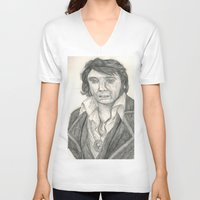 elvis presley V-neck T-shirts featuring Elvis Presley by battyelf