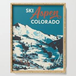 Vintage Ski Aspen Poster Serving Tray